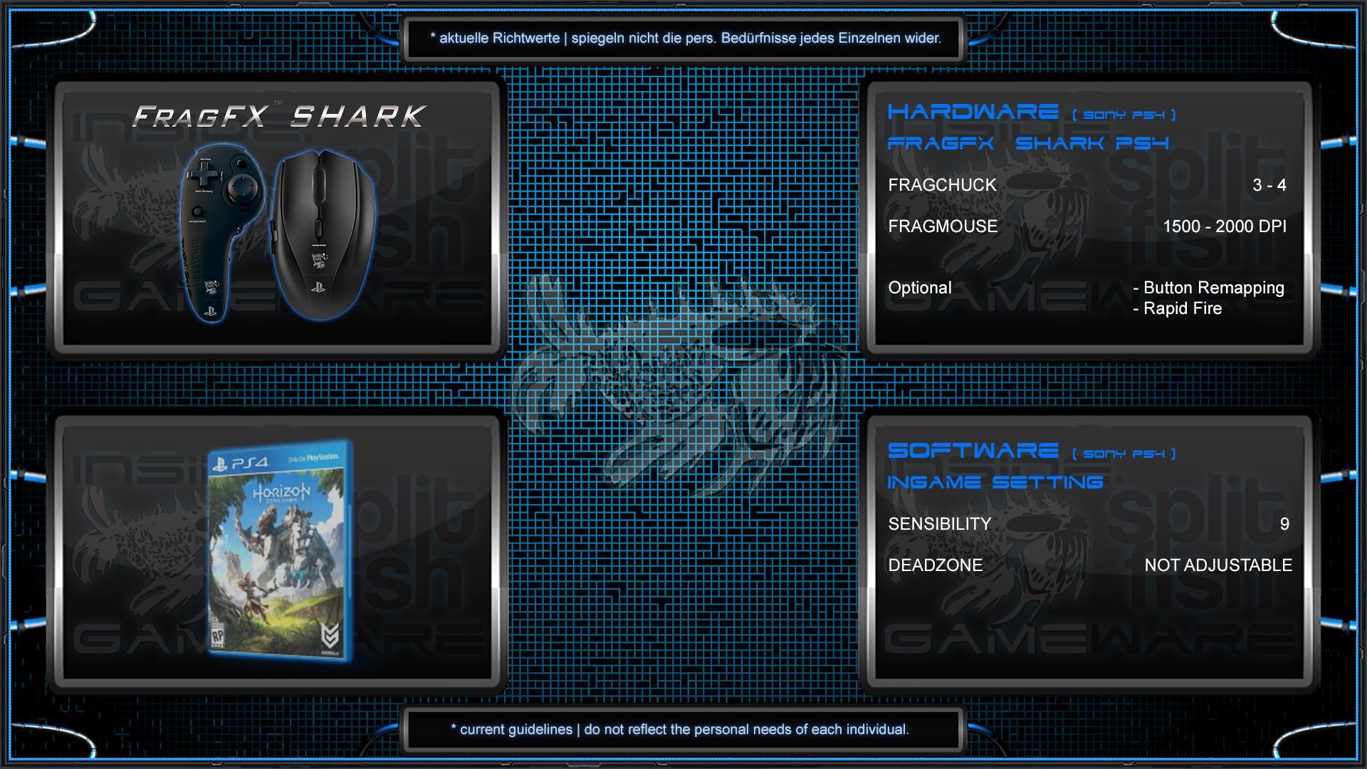 FRAGFX SHARK PS4 SETTING